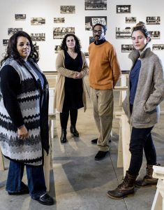 From left, Pam Cummings, president of the Abyssinian Meeting House board, Elizabeth Jabar, MECA assistant dean, James Ford, former president of the Abyssinian board, and Elise Pepple, a MECA storyteller, photographed in the Institute of Contemporary Art at the Maine College of Art. Gabe Souza/Staff Photographer