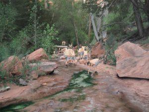 """Cobi Moules, Untitled (Fallen tree near LaVerkin Creek II), oil on canvas, 21"""" x 28"""", 2012"""