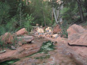"""Cobi Moules, Untitled (Fallen tree near LaVerkin Creek 2) oil on canvas, 21"""" x 28"""", 2012"""