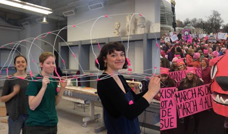 MECA's Kinetic Sculpture Puppeteers and the Women's March