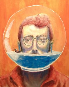 "William Gordon ""Fishbowl"" Gold Key Painting Portland High School"