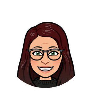 Bitmoji of Emily Brighi with dark auburn hair and glasses.