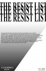 Poster with words Resist List repeated multiple times