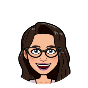 London Dupere's image is illustrated as a bitmoji: a white person with long wavy dark brown hair, blue eyes, glasses, purple lipstick, and a big smile.