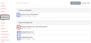 Image showing where to find the assignments link in Canvas.