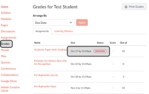 How to find grades in the Canvas navigation