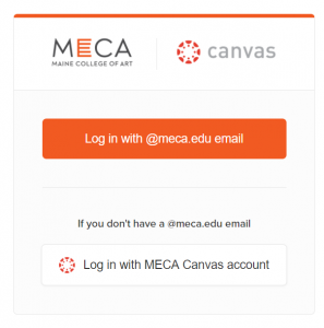 This is the login screen for the landing page canvas.meca.edu where you can go to log-in using your Google MECA credentials or using a different email connected to Canvas.