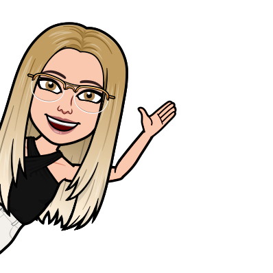 Bitmoji of Chloe Adams with light blond ombre hair, a black shirt, and glasses.
