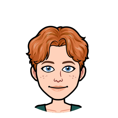 Elyse Grams's image is illustrated as a bitmoji: a white person with short red wavy hair and blue eyes, with a slight smile and freckles.