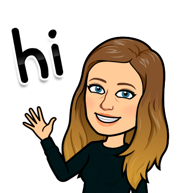 Jenna Crowder's image is illustrated as a bitmoji: a white person with slightly wavy brown to blonde ombre hair just past her shoulders, blue eyes, smiling and waving saying hi.